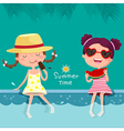 Two girls eating ice cream and watermelon at the vector image