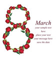 8 march women day greeting card realistic red vector image
