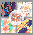 fashion abstract memphis seamless pattern set vector image
