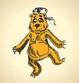 Hand drawn cartoon bear funny drunk vector image