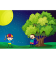 Happy kids playing near the tree under the bright vector image