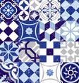 Seamless pattern vintage blue tile decoration vector image