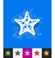 starfish paper sticker with hand drawn elements vector image