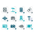 stylized travel trip and holiday icons vector image