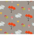 Orange trees and blue bunny earth color seamless vector image