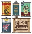 Vintage set of car and transportation products vector image vector image