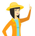young asian farmer pointing with her forefinger vector image