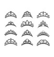 beautiful queen tiaras set vector image