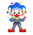 cartoon clown playing balls vector image
