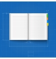 Opened notebook stylized drawing vector image vector image