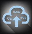 cloud with upload arrow icon on grunge background vector image vector image
