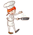 A simple sketch of a female chef vector image