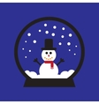 flat icon on blue background Snowman snow globe vector image