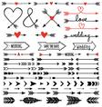 Hand-drawn arrows set vector image