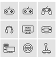 line video games icon set vector image