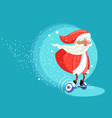 modern santa clause riding electric board vector image