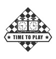 time to play chess logotype isolated on white vector image