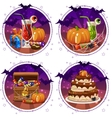 set icons cocktails and pumpkin for Halloween vector image