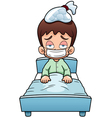 Sick boy cartoon vector image vector image