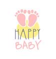 happy baby logo colorful hand drawn vector image