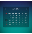 Calendar page for June 2014 vector image vector image