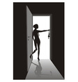 Striptease in the open door vector image vector image