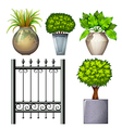 A steel gate and potted plants vector image