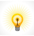 Helping hand make tree inside the bulb vector image