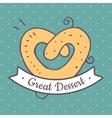 Pretzels pastries in flat style vector image