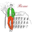 Man in Rome vector image
