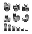 coins stack icons set on white background vector image