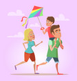 happy family father mom and son flying a kite vector image