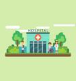 hospital facade and ambulance car flat vector image