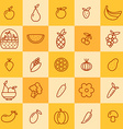set of icons of fruits and vegetables vector image
