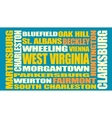 West Virginia state cities list vector image