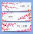 wedding banners template with spring japan sakura vector image vector image