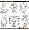 fantasy robots cartoons coloring page vector image