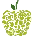 apple with fruits and vegetables pattern on white vector image vector image