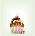 Delicious cupcake with three-chocolate cream vector image