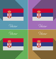 Flags Serbia Set of colors flat design and long vector image