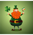 funny cartoon leprechaun with clover and irish vector image