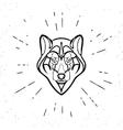 Vintage grey wolf vector image