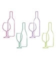 linear wine set of bottle and glass vector image