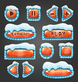 Winter cartoon orange buttons with snow vector image