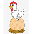 Cute Hen with giant egg vector image