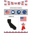 Map of california set of flat design icons vector image