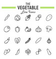vegetable line icon set food symbols collection vector image