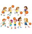 Girls and boys playing basketball vector image