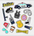 policeman stickers and badges set with police car vector image