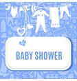 Baby shower card in blue and pink color vector image